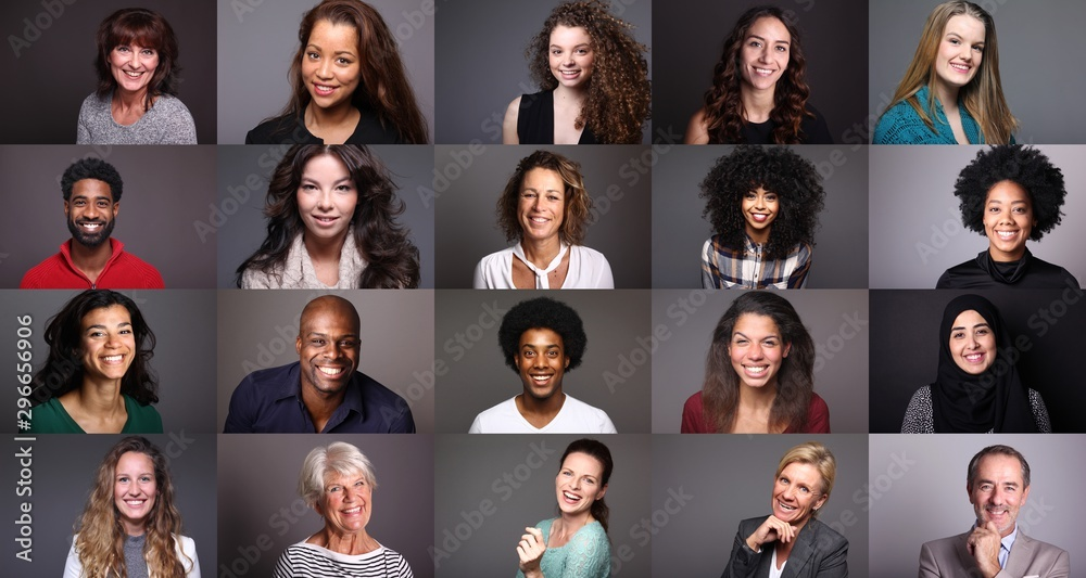 Fototapety, obrazy: Group of beautiful people in front of a colored background