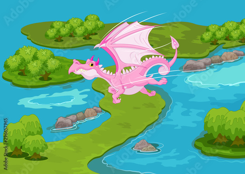 Garden Poster Fairytale World Magic Pink Dragon