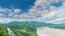 Viewpoint New Landmark Thai Skywalk, At Chiang Khan District, Loei Province, Mekong River Thailand And Laos PDR.with The Beautiful Sky And Cloud.