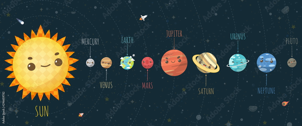 Fototapety, obrazy: Set of Universe, Solar system planet and space element on universe background. Vector illustration in cartoon style.