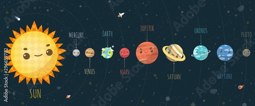 Fotomural  Set of Universe, Solar system planet and space element on universe background