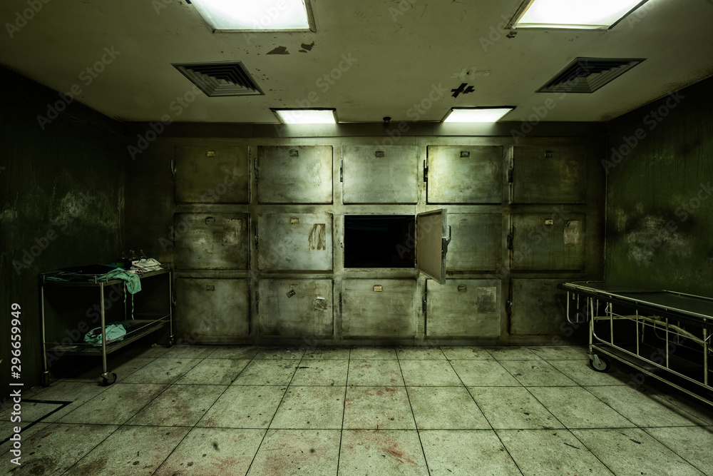 Fototapeta Room look scary, similar to used by the hospital to collect dead body, wait for religious ceremony or medical study was created for Halloween frightful Concept.