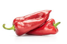 Group Of Two Whole Sweet Red Bell Pepper Isolated On White Background