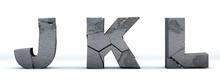 Font Broken. Letters J, K, L,...