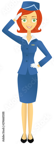 Retro styled flight attendant saluting Wallpaper Mural