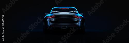 Sports car, studio setup, on a dark background. 3d rendering Fototapet