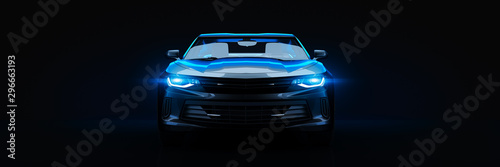 Fototapeta Sports car, studio setup, on a dark background. 3d rendering obraz