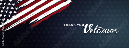 Thank you veterans, November 11, honoring all who served, posters, modern brush design vector illustration