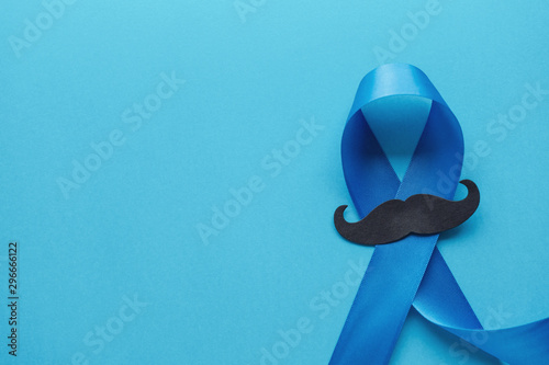 Canvastavla Light blue ribbons with mustache on blue background , Prostate Cancer Awareness,