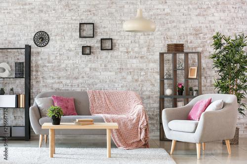Obraz Interior of stylish modern living room - fototapety do salonu