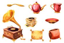 Watercolor Tea Set, Pillows, G...