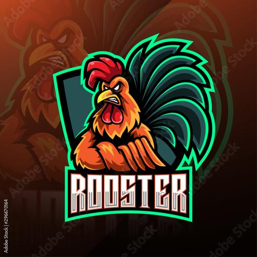 Rooster esport mascot logo design Tablou Canvas