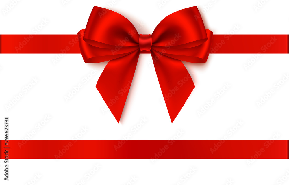 Fototapeta Decorative red bow with horizontal ribbon. Vector bow for page decor isolated on white
