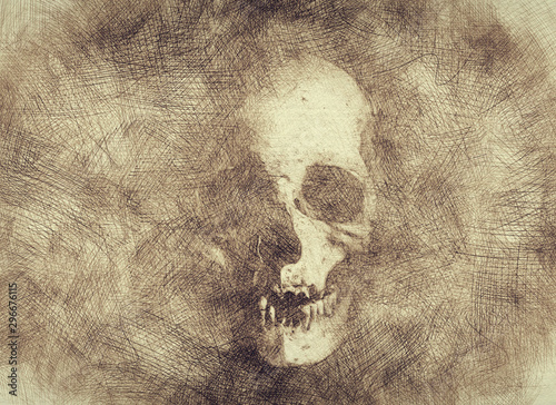 Fotografija Halloween skull drawing in pencil doodles style - Gold wallpaper