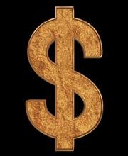 Gold Dollar Symbol Isolated On...