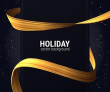 Golden Ribbon Background For Christmas Holidays. Vector Eps10