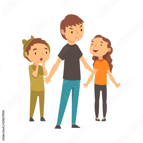 Photo Three children express different emotions cartoon vector illustration