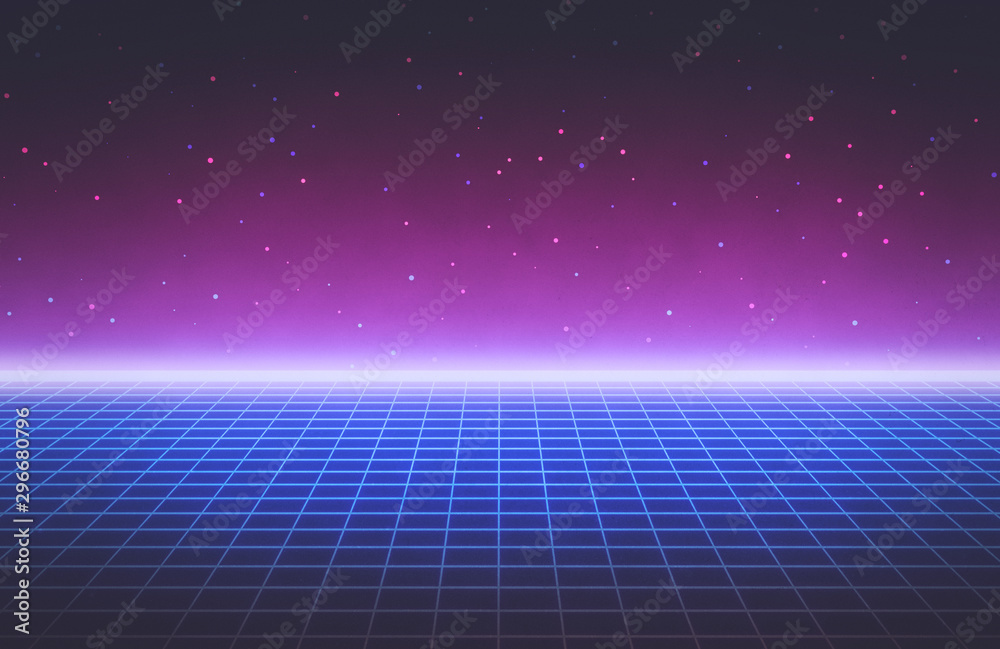 Fototapety, obrazy: 80s style Retro Futurism Sci-Fi Background. abstract glowing neon grid. Suitable for banner, poster design. 3d rendering