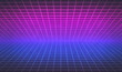 canvas print picture 80s style Retro Futurism Sci-Fi Background. abstract glowing neon grid. Suitable for banner, poster design. 3d rendering