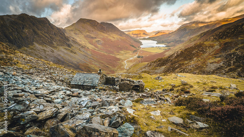Fényképezés A view of Buttermere from Warnscale Bothy in the Lake District, England