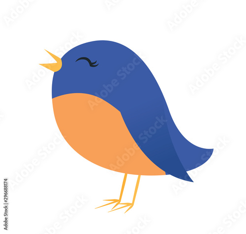 Obraz na plátne Vector illustration of a cute bluebird