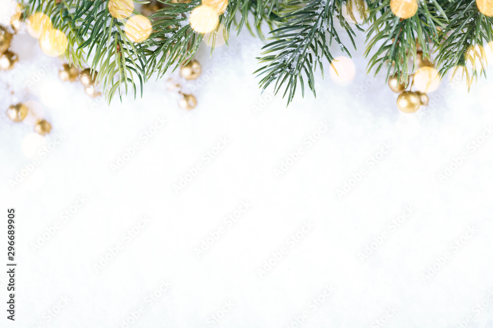 Fototapety, obrazy: Closeup of Christmas tree with light, snow flake. Christmas and New Year holiday background.