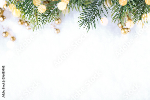 Fotobehang Bomen Closeup of Christmas tree with light, snow flake. Christmas and New Year holiday background.
