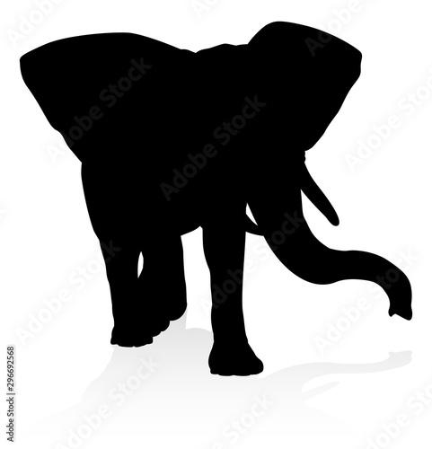 An elephant safari animal silhouette Wallpaper Mural