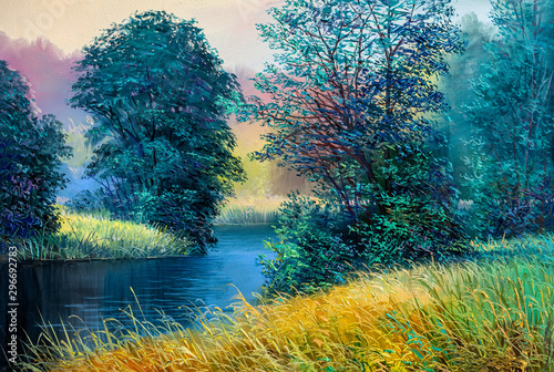 Montage in der Fensternische Blau türkis Oil painting landscape , colorful summer forest, beautiful river