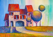Oil Painting, House In The Vil...