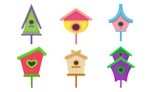 Colorful Birdhouses Vector Ill...