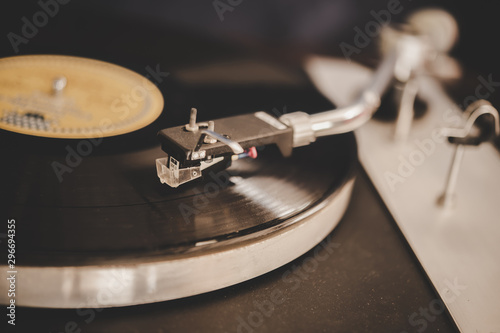 Spinning Record Player With Vintage Vinyl, Turntable Player And Vinyl Record Canvas Print