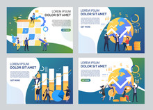 Finance Management Illustration Set. Men And Women Planning Work, Analyzing Charts. Business Concept. Vector Illustration For Topics Like Finance, Startup Marketing