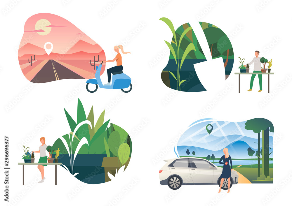 Planting illustration set. People caring about home plants, travelling outdoors by car or scooter. Activity concept. Vector illustration for topics like environment, ecology, eco tourism <span>plik: #296696377 | autor: SurfupVector</span>