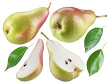Ripe Pear, Half Of Pear And Pe...