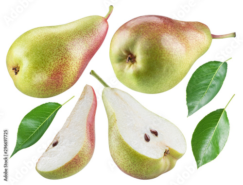 Ripe pear, half of pear and pear leaves on white background Fotobehang