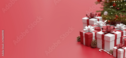 Photo Stands Amsterdam Christmas background with christmas gifts decoration - 3d rendering