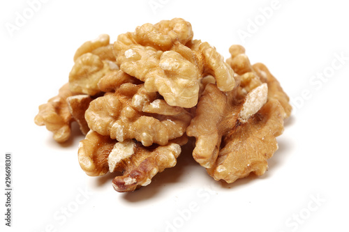 Fotografía Half peeled walnut closeup isolated on white background