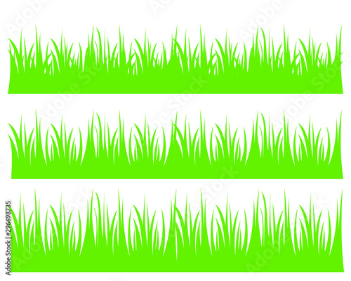Fototapeta Vector green grass illustration: natural, organic, bio, eco label and shape on white background. obraz na płótnie