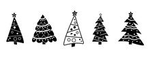 Set Different Abstract Christmas Tree. Black And White. Collection Christmas Tree Decorated Isolated. Vector Illustration.