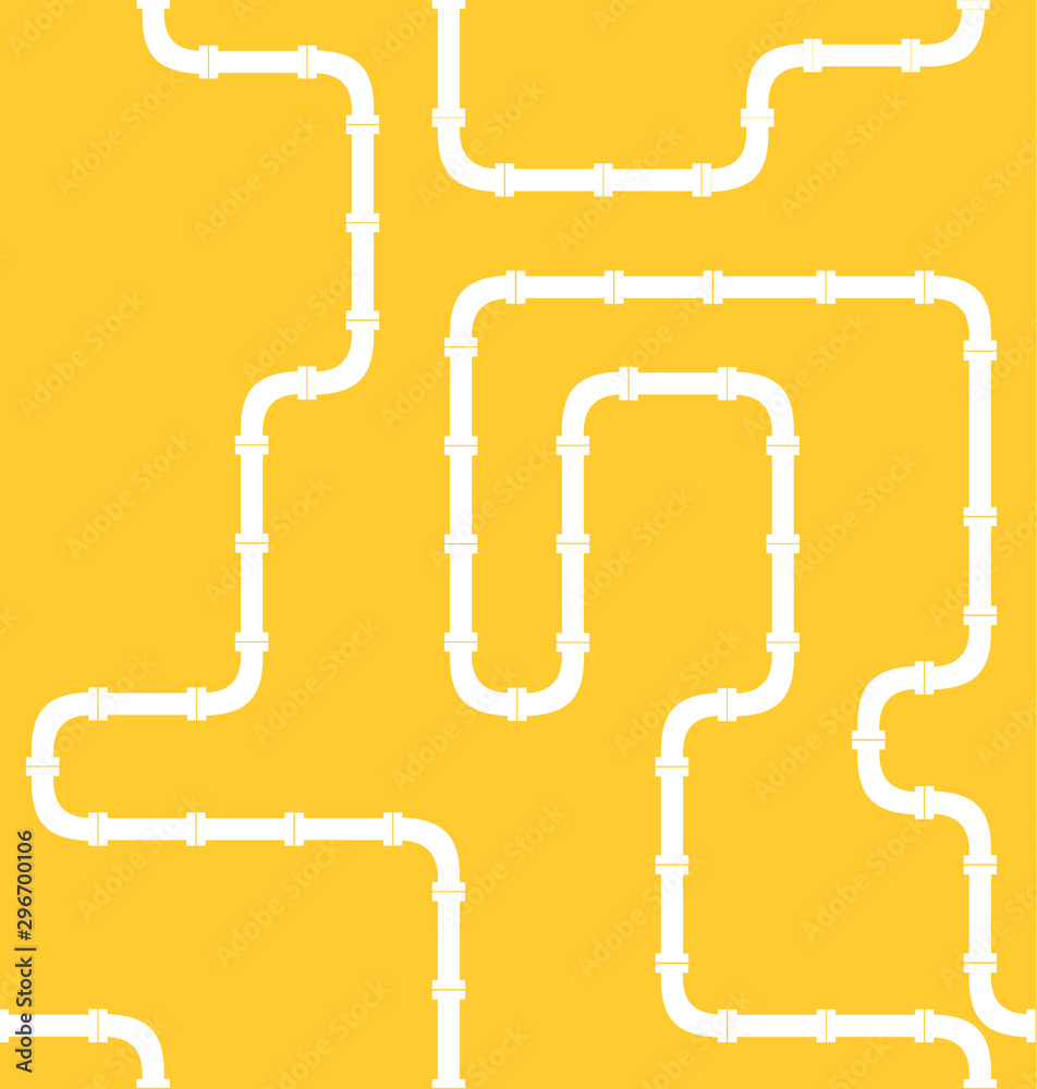 industrial seamless pattern. white piping on Yellow background. pipes for water, gas, oil.
