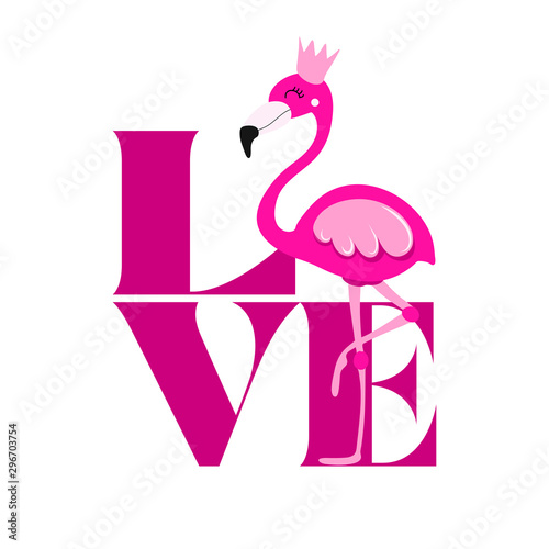 Love with pink flamingo. - funny  vector saying. Good for scrap booking, posters, textiles, gifts, t shirts.