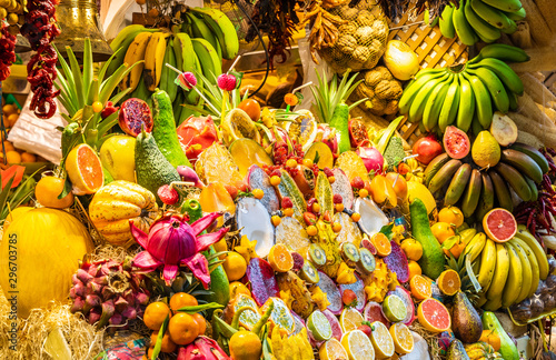 Exotic fruit market with various colorful fresh fruits