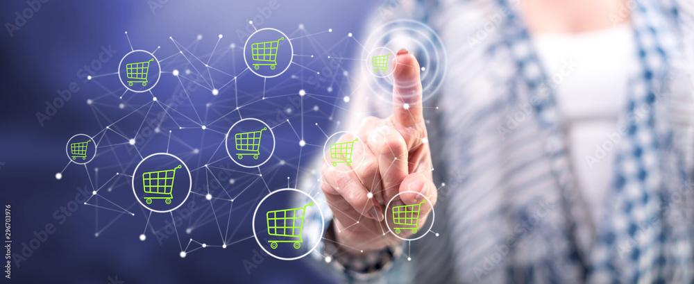 Woman touching an e-commerce concept