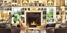 Luxurious Fireplace And A Larg...