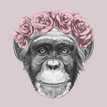 Portrait Of Monkey With Floral Head Wreath. Hand-drawn Illustration Of Dog. Vector Isolated Elements.