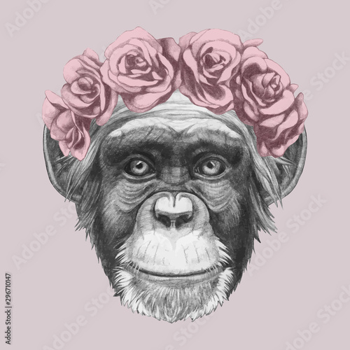 Portrait of Monkey with floral head wreath Tablou Canvas