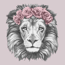 Portrait Of Lion With Floral Head Wreath. Hand-drawn Illustration Of Dog. Vector Isolated Elements.