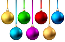Realistic  Red, Gold, Blue, Green,  Purple  Christmas  Balls.