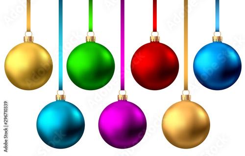 Fotografija Realistic  red, gold, blue, green,  purple  Christmas  balls.